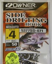 Owner Side Drifting Hooks Steelhead Mosquito  #5377SD-071 Size #4 BLACK 50 pack