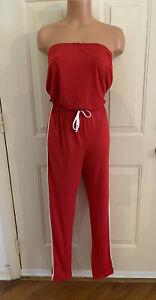 LOVE, Size XL, Red w/White Side Stripes, Knit, Strapless, Romper/Jumpsuit.  NEW.