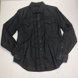 Polo Ralph Lauren Dungarees LS Black Western Style Button Snap Shirt Size Large