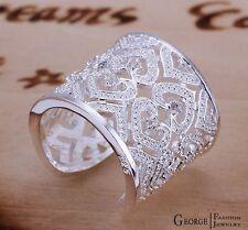bague ajustable avec strass et petit coeur couleur argent bijou bijoux fantaisie