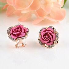 Fashion Women Lady Rose Flower Crystal Rhinestone Pierced Ear Stud Earrings Gift