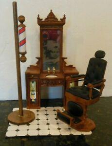 BESPAQ Dollhouse miniature barber shop, vanity w/sink, chair floor barber sign