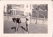 Swimsuit Girl Sprays Her Turned Head Away Friend With Water Hose Vintage Photo