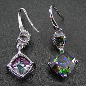 Gorgeous 925 Silver Women Mystic Topaz Earrings Dangle Wedding Jewelry Gifts