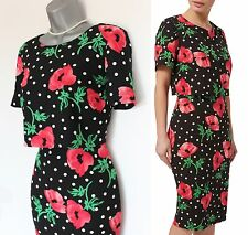 Precis double couche poppy floral spot print shift charme robe uk 10 eu 38 £ 129