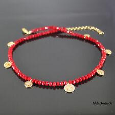 Damen rot BICONE Glas Perlen Kette mit Gold Münzen 45cm Karabiner