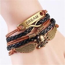 NEW Infinity Angel Wings skull Daeam Friendship Bronze Leather Charm Bracelet