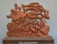 Collect Chinese box-wood Hand carve king of birds phoenix statue folding screen