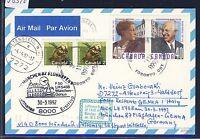 58310) LH FF München - Genua Italien 30.3.92, Karte ab Canada