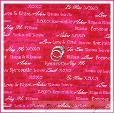 BonEful Fabric FQ Cotton Valentine Kiss Hug Baby Love HEART Word Red Pink Stripe
