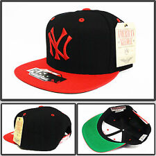 AUTHENTIC MLB NEW YORK YANKEES 47 BRAND VTG SNAPBACK black & red NEW HATS CAP