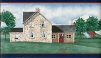 COUNTRY FIELDSTONE HOUSE WITH LAUNDRY ON LINE WALLPAPER BORDER