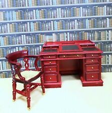Dollhouse miniature Dickens Writing Desk & Dickens Chair On Castors