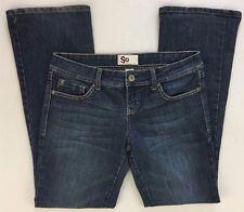 SO Jeans Blue Denim Cotton Stretch Acid Wash Low Rise Flare Junior Size 11 L31
