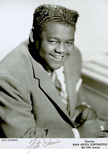 "FATS DOMINO SIGNED PROMOTIONAL PHOTO 8 X 11 "" LAMINATED ROCKABILLY ROCK N ROLL"