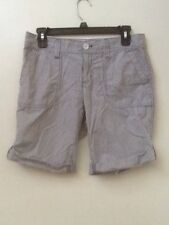 Eddie Bauer Womens Shorts Size 2 Blue Gray White Striped Roll Hem Pockets