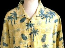 Men's XL Shirt Trader Bay Hawaiian Aloha Camp Palm Pineapple Hibiscus Yellow