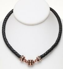 KIRKS FOLLY BRAIDED BLACK LEATHER MAGNETIC INTERCHANGEABLE NECKLACE - COPPERTONE