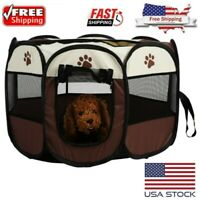 Dog Pet Playpen Portable Oxford Cloth Yard Fence Animals Exercise Training Cage