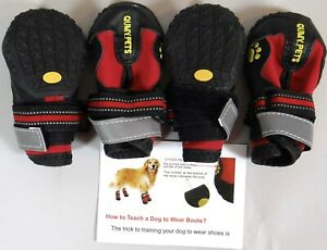 Dog Boots Shoes Water Heat Proof Anti Slip Qumy Rugged Sole  Reflective New L 2