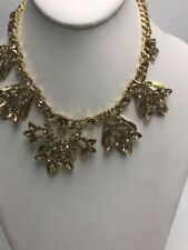 """$350 Givenchy gold tone crystal statement necklace 16 plus 3"""" Gs52"""