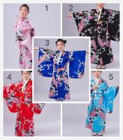 Vintage traditional Japanese gril's Kimono Yukata Haori Kids' Yukata obi Dress