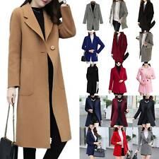 US Women Winter Overcoat Wool Trench Coat Warm One Button Peacoat Jacket Outwear