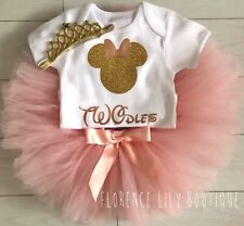 Luxury Girls Cake Smash Outfit 2nd Birthday Vest Set Tutu Skirt Minnie TWOdles
