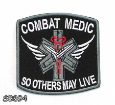 COMBAT MEDIC Iron on Small Badge Patch for Biker Vest SB894