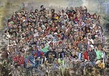 Hip-Hop Legends • Rap Stars • Splash Art Wandbild • Leinwand - 100 x 70 cm - Neu