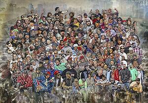 Hip-Hop Legends Rap Stars Splash Art Wandbild Premium Leinwand 100 x 70 cm Neu