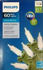 Philips 60 ct LED Mini String Light Cool White Green Wire 88% Energy Savings New