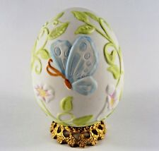 Robert Nemith Ceramic Egg with Butterfly & Gold Plated Stand Rare