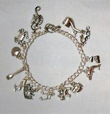 DISNEY'S LITTLE MERMAID MOVIE THEMED Silvertone (13 Charms) Charm BRACELET