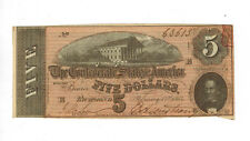 US 1864 Confederate States of America $5 Five Dollar Bill Civil War note choice