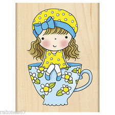 New Penny Black SITTING PRETTY Wood Rubber Stamp Girl Tea Party Cup Child