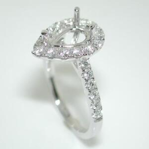 Halo Engagement Ring Setting For A Pear Cut With 0.80 Ct Diamond Accents 14k