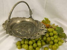 Beautiful Pairpoint Bridal Basket Turtle Doves Cherries handle 1228 fake grapes