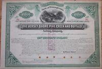 1882 $10,000 Railroad Bond Certificate: Jersey Shore-Pine Creek-Buffalo Railway