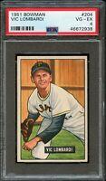 1951 Bowman BB Card #204 Vince Lombardi Pittsburgh Pirates ROOKIE PSA VG-EX 4 !!