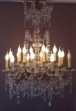 Baccarat, Lustre XIX ème En Cristal Signé Et Bronze, 18 Lumières, Pampilles, NAP