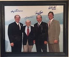 Hof Catchers Signed 16X20 Framed Berra Fisk Bench Carter Ins Autograph Psa Coa