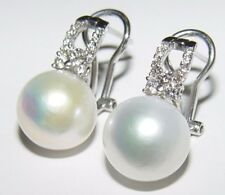 12.00MM South Sea Pearl $ 0.34CT Diamond Earrings 14K gold