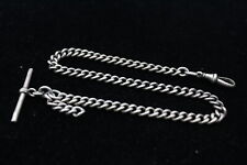 More details for vintage .925 sterling silver watch chain inc. t-bar, dog clip, 35cm long (31g)