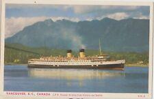 CANADIAN PACIFIC STEAMER Vancouver Canada Vintage Colour PC c1950s