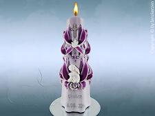 Taufkerze sculpté Violet Avec Ange Gardien taufkerze fille avec nom et date