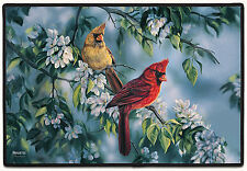 DOOR MATS - CARDINALS ON FLOWERING BRANCH DOORMAT - CARDINAL DOOR MAT - WELCOME