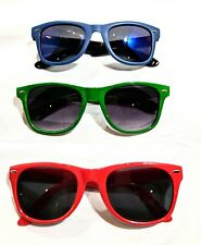 3 Pairs Retro Aviator Stylish Sunglasses Red Green Blue Colors
