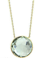14K Yellow Gold Gemstone Necklace With A Green Amethyst Solitaire 18 Inches
