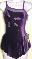 GK ICE FIGURE SKATE ADULT SMALL EGGPLANT VELVET CAMISOLE ASYM YOKE JA DRESS AS